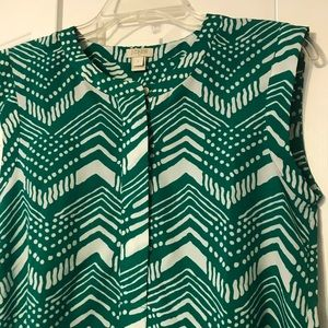 J Crew Green and white patterned top